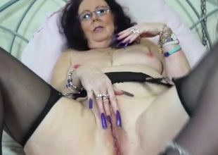 Insane long fingernails on a masturbating old little one