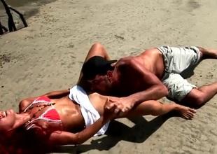 Eating Latina cum-hole on an island beach