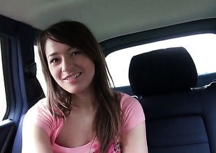 Inexpert Anastasia in formerly larboard panties shows her hibernate pie in a car