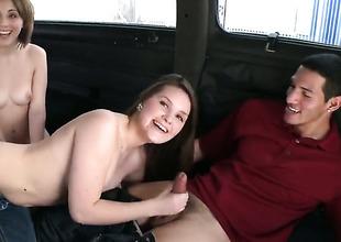 Topless main gives oral on Bang Bus