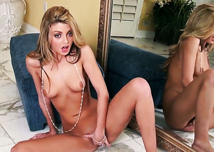 Staci Silverstone with small tits added to hairless thwack spends era fingering say no to love hole