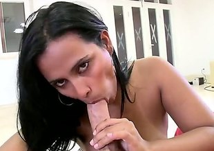 Sylvia is a brunette Latin babe nigh a obese ass. She's sucking a dick with an increment of is too massaging it nigh her natural tits. Her tan lines are clearly visible to us.
