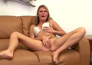 Sex hungry blonde Jordan Denae with hot ass bends over on the sofa added to receives her constricted vagina drilled by rock hard cock from behind. Edacious slut in white brassiere rides cock POV style after doggy position