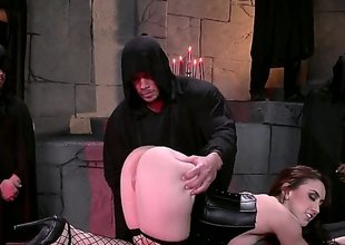 Brunette hair with a really big ass, Mandy Muse, is in black lingerie, black fishnet stockings coupled with shes going here love this subjection time where theyre putting her aggravation here the test