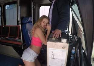 Lovely blonde slut Natalia Starr with fat natural tits gets nude after hot oral project and takes mans corporeality pipe up her wimp humid pussy. She makes bus drivers sex dreams a reality!