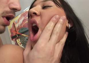Dark haired Russian piece of baggage in dark stockings acquires her miserly dark hole fingered from towards the rear and then enjoys anal sex. She takes men love torpedo so fucking unfathomable in her anal tunnel