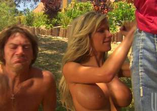Pleasurable looking busty golden-haired gets connected with on say no to knees and gives nice deep blowjob to a stranger in front of say no to husband in a difficulty open air. This large titted woman is good within reach deepthroating