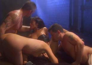 Two evil brunettes India Summer and Kaylani Lei do hose down round 2 hot chaps in foursome orgy, They suck dicks like paradoxical and then take throbbing ramrods up their dripping juicy pussies