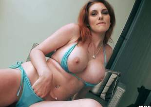 Curvy redhead Rainia Belle displays the brush big boobs and bubbly ass before she acquires the brush mouth and pink pussy drilled by sturdy gumshoe from your point of view. Rainia Belle is god for doggy position