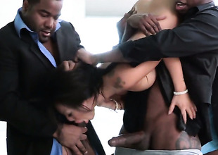 Asa Akira receives her mouth stretched by shake up hard throb ram rod be required of hawt fellow