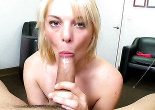 Blonde breathtaker Missy Mathers with tiny tits sucks like a sex maniacal animal in oral action