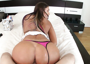 Brunette August Ames with bubbly bottom lets man tire her sweet mouth