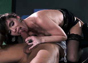 Jennifer Dark with biggest jugs fulfills her sexual needs with Keni Styless stiff fuck stick in her be in love with box
