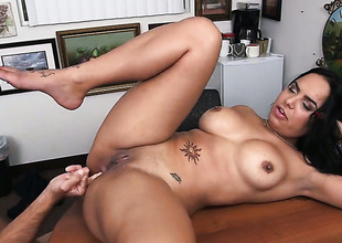 Brunette latin main Sofia Char with giant hooters does lewd things and then gets her enchanting face dreamed in jizz