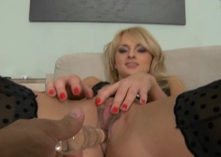 Nasty euro slut endures fearsome three-some fucking action