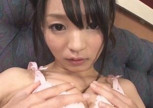Charming Japanese slut gets her face creamed whilst cunt teased