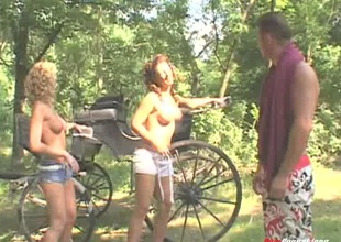 Bouncy dude takes his wives for a nature walk whither a enjoyable FFM was born