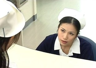 Two nurses on no account their skilled mouths to make a patient better