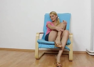 Unique unskilful blonde hottie in briar can't reside without showing off