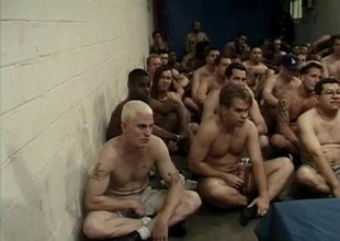 Dozens of men bukkake a difficulty face of a beautiful blonde girl