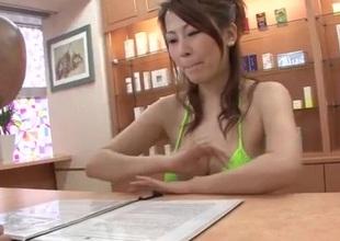 Breasty Yuki Aida blows jock in POV manners