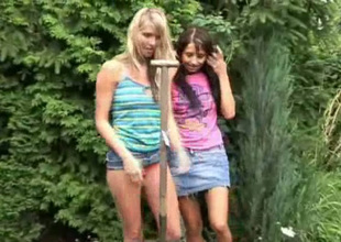 Skinny horn-mad lesbos Natasha and Olya are ready on touching have a go coition outdoors