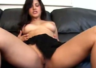 Full of excitement and desire to reach orgasm busty babe Unobstructed goes solo