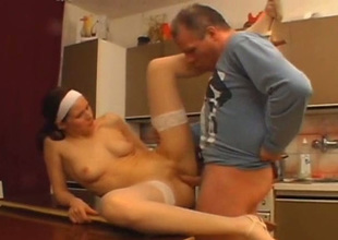 Spoiled nympho in white stockings gets fucked surpassing the dining table