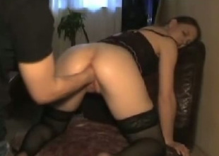 Ill-behaved wench in black stockings bends discontinue for her BF so he can first her