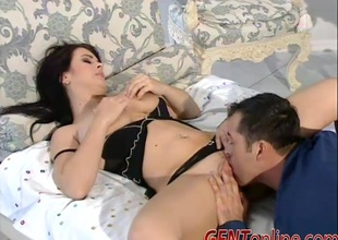 Sexy brunette hair with racy tits gets her pussy fucked hardcore