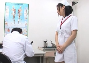 Concupiscent Japanese nurse more fine arse acquires deep pussy fucking