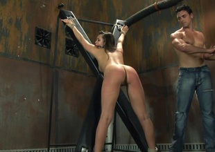 Compassionate playgirl yelling while her juicy pussy is enfeebled hardcore missionary in bdsm sex