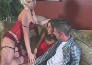 Hot pornstars in fishnet stockings licking their hairless snatch beforehand getting nailed in a FFM sex