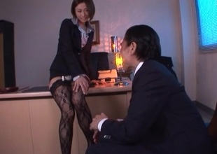 Lustful Brunette in nylons rides her boss horseshit doggy style