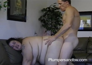 BBW slut getting her vagina fucked and face jizzed after sucking cock