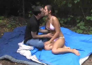 Sensuous brunette pornstar with a scrupulous ass gets pounded hardcore outdoors