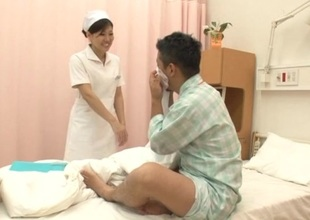 Japanese murky nurse gives her patient astonishing cook jerking