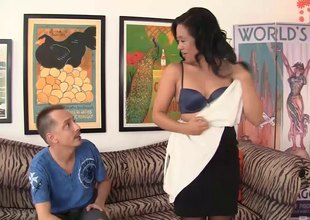 Lustful Asian mom needs some bank from a younger dude