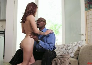 White bitch with unassuming tits enjoys interracial sex with BBC