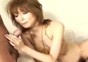 Asian cuttie in say no to golden bikini sucking a hard load of shit