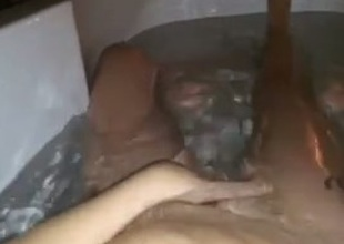 Selfshot solo video with me fingering my cookie in slay rub elbows with bathtub