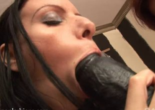 Lesbo bitches fooling around with massive dildos