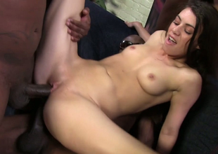 Bewitching redhead plow Tiffany Doll gets nailed in interracial troop group sex