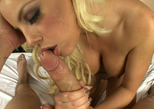 Busty blondie Britney Amber in sensual oral-stimulation play almost Chris Strokes