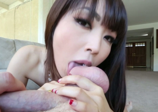Sexy Asian harlot gives some nice blwojob in excess of POV camera