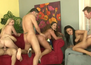 Cathy Heaven, Tristyn Kennedy and Miya Monroe banged in group-sex