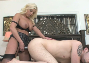 Hot as fire blonde cash-drawer Britney Amber fucks Wolf Hudson with a strap on