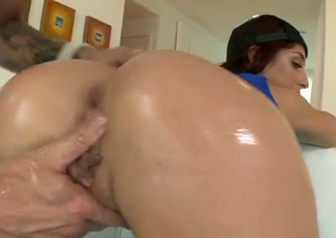 Oiled up takings hole of Misha is fucked deep in a doggy position