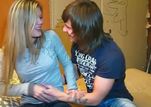 Cute blonde girl wants to swell up a dick in 69 position