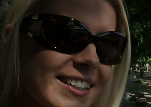 Blonde Brandy Smile is stimulated by stripping on camera